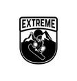 snowboarding emblem with snowboarder design vector image vector image