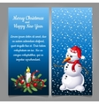 Snowman in red hat on a background of snow vector image vector image