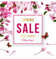 spring sale background with cherry blossom vector image vector image