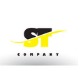 st s t black and yellow letter logo with swoosh vector image