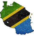 Tanzania map with flag inside vector image vector image