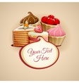 Tasty cakes background vector image