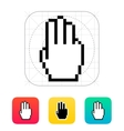 Three fingers Pixel hand cursor icon vector image vector image