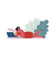 woman drinking coffee cartoon female lying vector image vector image