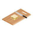 wooden cutting board sandwich and knife vector image vector image