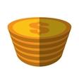 golden coin pile dollar color shadow vector image