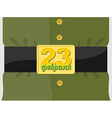 23 February Soldiers belt buckle with a star vector image vector image