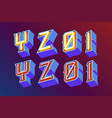 3d vintage letters with neon lights vector image vector image