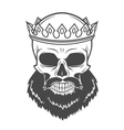 bearded skull king with crown vintage cruel vector image