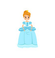 beautiful little princess in a light blue dress vector image vector image