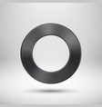 Black Abstract Circle Button with Metal Texture vector image