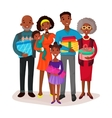 Black family holding children and gifts or present vector image vector image