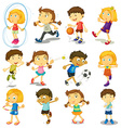 boy and girl doing many activities vector image vector image