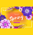 bright yellow purple origami spring sale flowers vector image