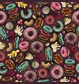 cartoon hand-drawn donuts seamless pattern vector image vector image