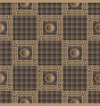 checkered brown 3d greek seamless pattern check vector image