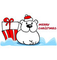 christmas card with cute polar bear in red hat vector image vector image