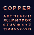 copper low poly alphabet typography set vector image