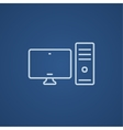 CPU and monitor line icon vector image vector image
