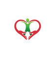 creative hands and human body heart symbol logo vector image vector image