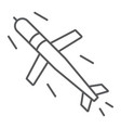 cruise missile thin line icon army and force vector image vector image