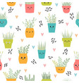 cute seamless pattern with house plants in pots vector image vector image