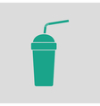Disposable soda cup and flexible stick icon vector image