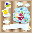 easter with chick and eggs on cardboard background vector image vector image