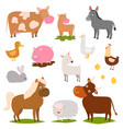 farm animals cartoon characters family rural vector image