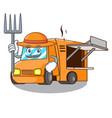 farmer rendering cartoon of food truck shape vector image