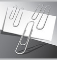 five paper clips and paper sheets vector image