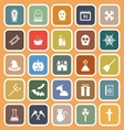 Halloween flat icons on orange background vector image