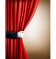Hand in a white glove pulling curtain away Theater vector image vector image