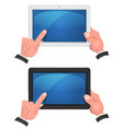 hands using touch screen on digital tablet vector image vector image