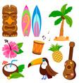 hawaiian summer collection vector image