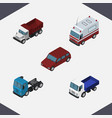 isometric automobile set of first-aid truck vector image vector image