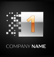 number one logo symbol in golden-silver square vector image vector image