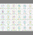 online services and shopping linear icons set vector image