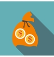Orange money bag icon flat style vector image vector image