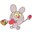 Purple Bunny Running And Holding Up An Egg vector image vector image