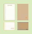 Retro lined papers on green background vector image