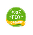 round green label with text eco organic vector image vector image