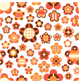 seamless pattern with large and small bright flowe vector image