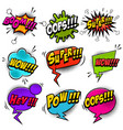 set comic style speech bubbles with sound text vector image