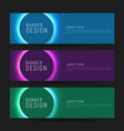 set flyers with glowing neon circle in vector image