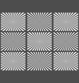 set of black and white rays vector image vector image