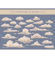 set of vintage clouds on a blue background vector image vector image