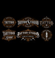 set of vintage tattoo emblems version for dark vector image