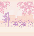 sillhouette couple standing in park vector image