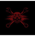 skull in helmet and wrenches with flames vector image vector image